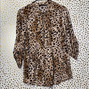 FYLO Leopard Roll Tab Knit Split neck Blouse